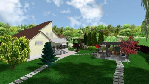 Дом и зона отдыха в RealTime LandscapeDesign