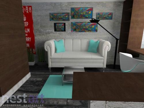 Печенкова Екатерина 3d визуализация Гостиная зона 2